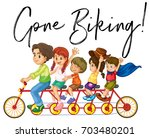 family riding bike with phrase... | Shutterstock .eps vector #703480201