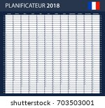 french planner blank for 2018.... | Shutterstock .eps vector #703503001