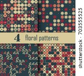 set of four seamless floral... | Shutterstock .eps vector #703555525