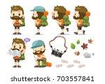 vector male traveler  tourist... | Shutterstock .eps vector #703557841