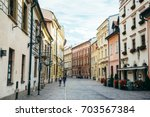 old street of european town in... | Shutterstock . vector #703567384
