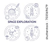 space travel and exploration... | Shutterstock .eps vector #703569679