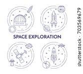 space travel line banner. set...   Shutterstock .eps vector #703569679