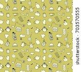 kitchen color icon doodle set... | Shutterstock .eps vector #703570555