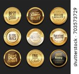luxury retro badges gold and... | Shutterstock .eps vector #703573729