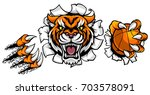 a tiger angry animal sports... | Shutterstock .eps vector #703578091