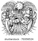 tattoo eagle with outstretched... | Shutterstock . vector #70358524