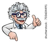 a generic cartoon scientist... | Shutterstock .eps vector #703604491