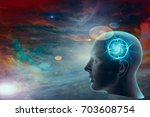 human head with brain and... | Shutterstock . vector #703608754