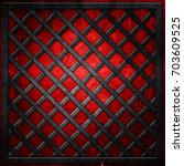 metal lattice on red grunge... | Shutterstock . vector #703609525