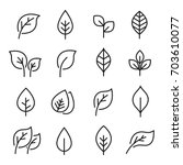 leaf line icon set. fertility... | Shutterstock .eps vector #703610077