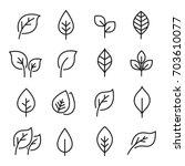 leaf line icon set. fertility... | Shutterstock .eps vector #703610077