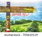 signs on camino de santiago | Shutterstock . vector #703610119