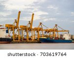 shipping trade port. container... | Shutterstock . vector #703619764