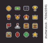 pixel art 8bit icons with... | Shutterstock .eps vector #703623541