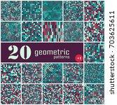 set of twenty seamless... | Shutterstock .eps vector #703625611
