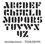 geometric modular vector font.... | Shutterstock .eps vector #703628194