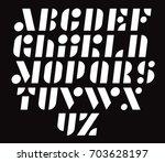 geometric modular vector font....   Shutterstock .eps vector #703628197