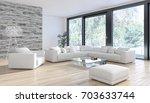 modern bright interiors. 3d... | Shutterstock . vector #703633744