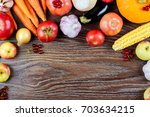 autumn vegetables harvest  raw... | Shutterstock . vector #703634215