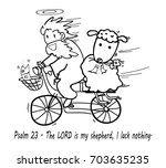 god riding bicycle with sheep... | Shutterstock .eps vector #703635235