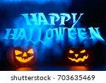 spooky pumpkin lanterns... | Shutterstock . vector #703635469
