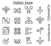 option icon set in thin line... | Shutterstock .eps vector #703644874