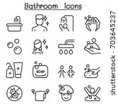 bathroom icon set in thin line... | Shutterstock .eps vector #703645237