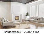 modern bright interiors. 3d... | Shutterstock . vector #703645465