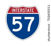 interstate highway 57 road sign.... | Shutterstock .eps vector #703650511