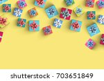 happy birthday and gift box on... | Shutterstock . vector #703651849