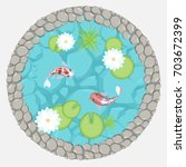 vector illustration. pond with... | Shutterstock .eps vector #703672399