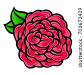flower rose  red buds and green ... | Shutterstock .eps vector #703672429
