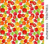 seamless pattern with tomatoes... | Shutterstock .eps vector #703674811