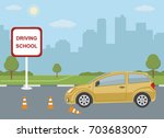 driving school concept with car ... | Shutterstock .eps vector #703683007