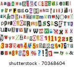 newspaper letters  numbers and... | Shutterstock . vector #70368604