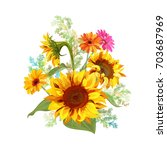 bouquet autumn flowers  yellow...   Shutterstock .eps vector #703687969