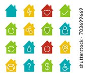 houses glyph color icon set....