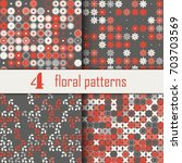 set of four seamless floral... | Shutterstock .eps vector #703703569
