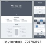 Stock vector one page website design template for business landing page wireframe flat modern responsive 703703917
