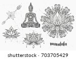 mandala set and other elements. ... | Shutterstock .eps vector #703705429