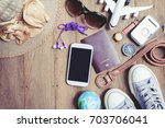 equipment travel accessories... | Shutterstock . vector #703706041
