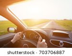Driving Car  Hands Of Driver O...
