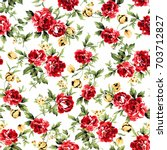 Red And Yellow Flowers Pattern...