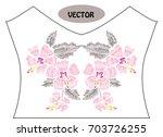 decorative hibiscus flowers in...   Shutterstock .eps vector #703726255
