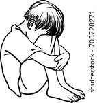 vector art drawing of lonely... | Shutterstock .eps vector #703728271