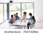 multiethnic startup business... | Shutterstock . vector #703732861