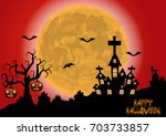 halloween background . vector... | Shutterstock .eps vector #703733857
