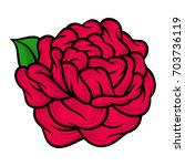 flower rose  red buds and green ... | Shutterstock .eps vector #703736119