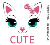 kitty with text cute | Shutterstock .eps vector #703738387